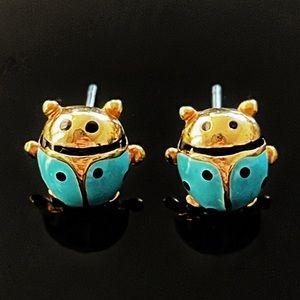 ✨Tiffany Blue Signed VTG Ladybug Stud Earrings